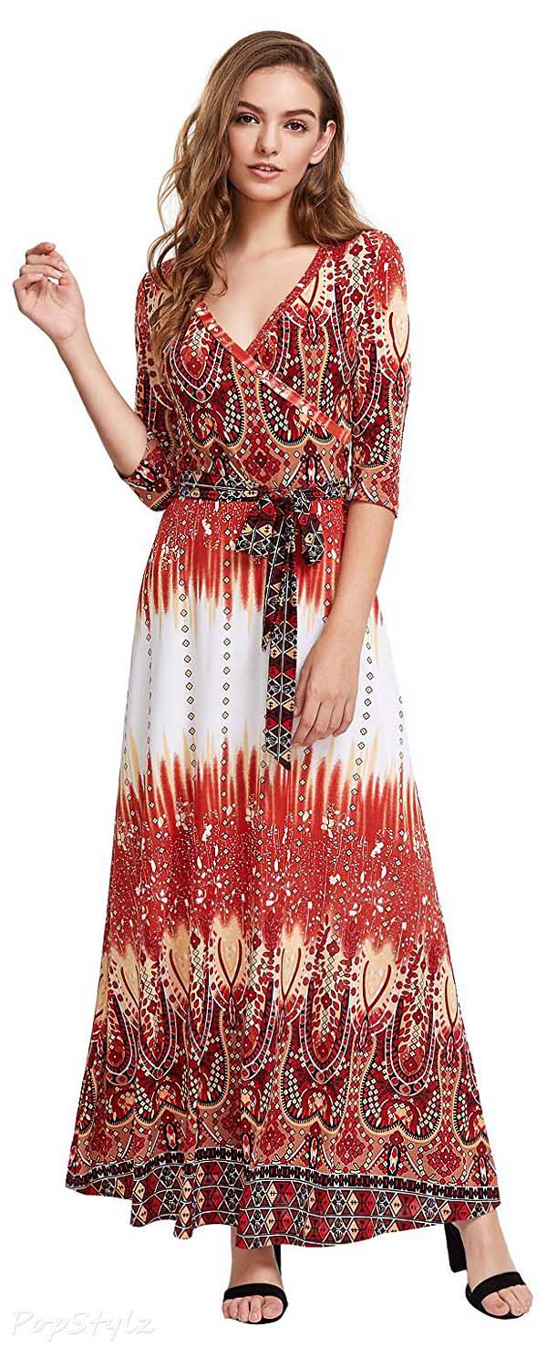 Milumia Bohemian 3/4 Sleeve Faux Wrap Maxi Dress