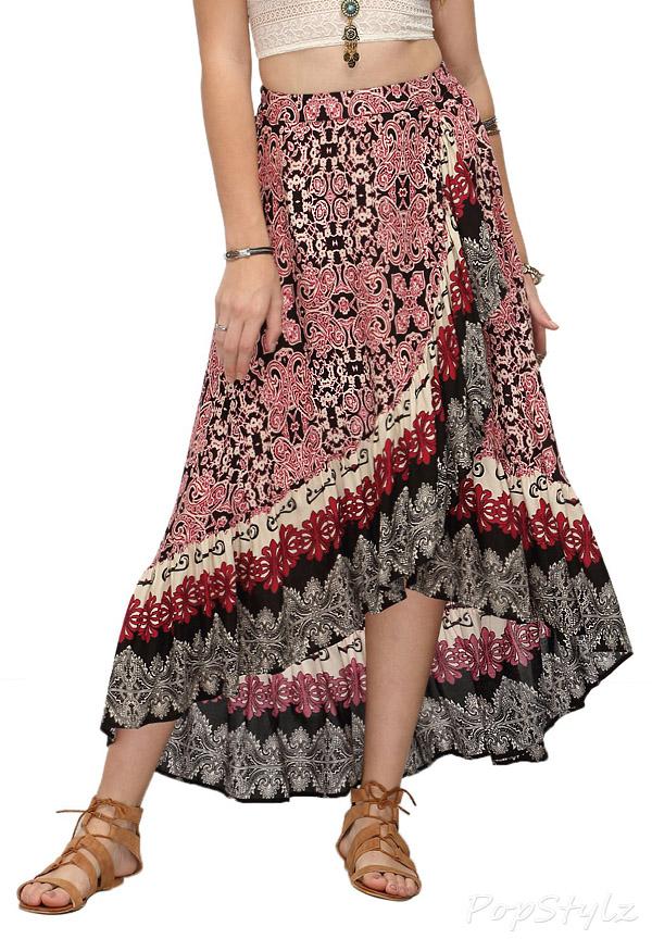 Milumia Bohemian Floral Print Maxi Wrap Skirt