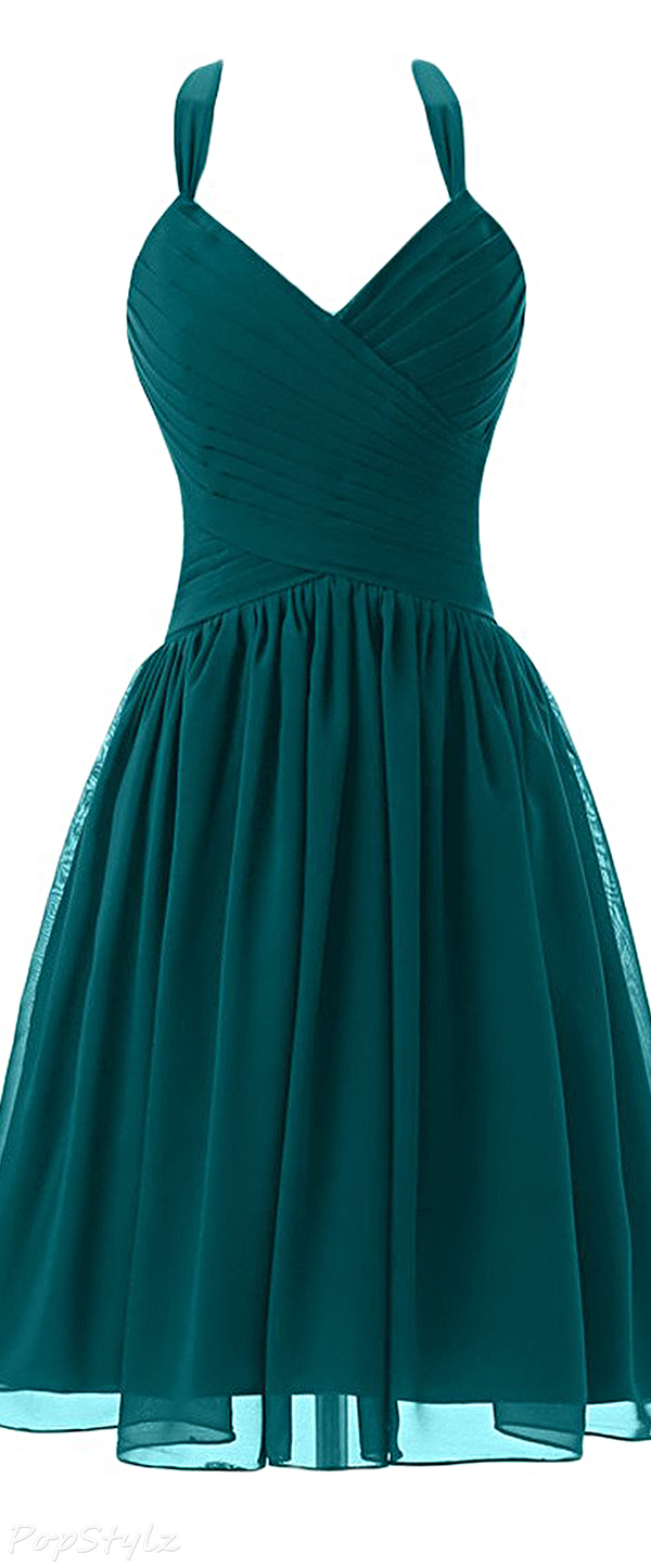 Sunvary Short Halter Formal Evening Dress