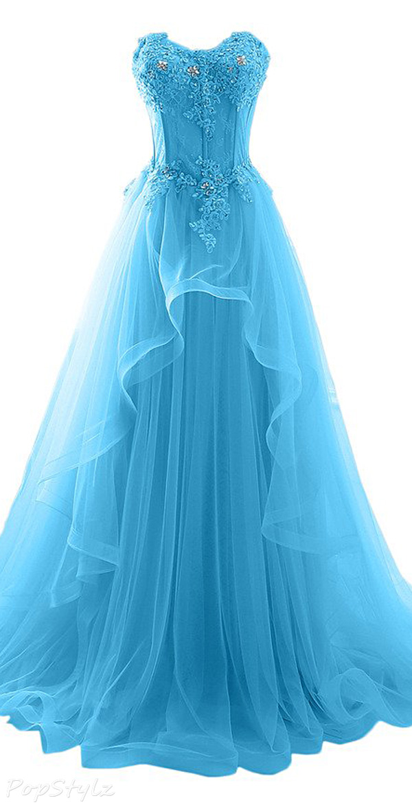 Milano Bride Tulle & Lace Applique Formal Gown