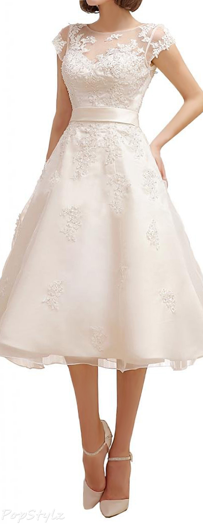 Milano Bride Tea Length Cap Sleeves Applique Dress