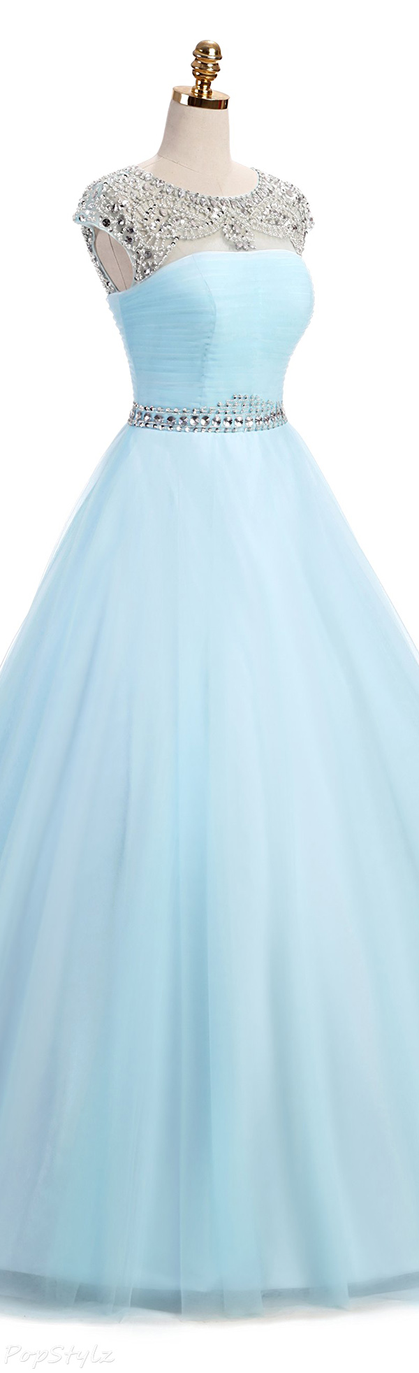 Milano Bride Illusion Neck Beaded Tulle Ball Gown