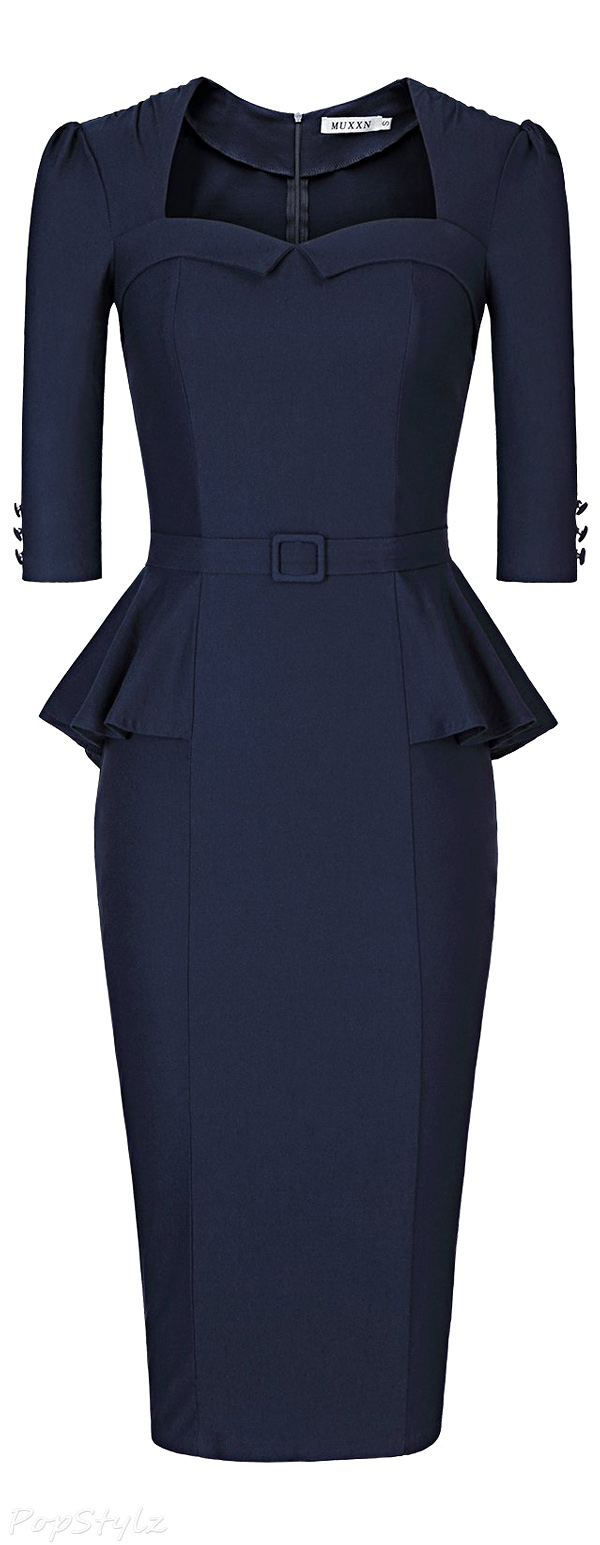 MUXXN Vintage 50's Peplum Business Pencil Dress
