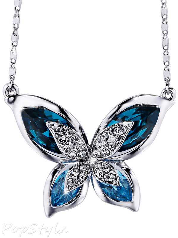 "SIVERY Ocean Blue Swarovski Crystals ""Butterfly"" Necklace"