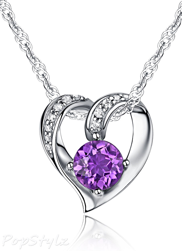 Natural Gemstone Heart Style Pendant Necklace