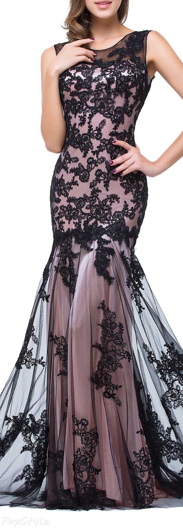 Babyonline Tulle with Black Lace Applique Mermaid Gown