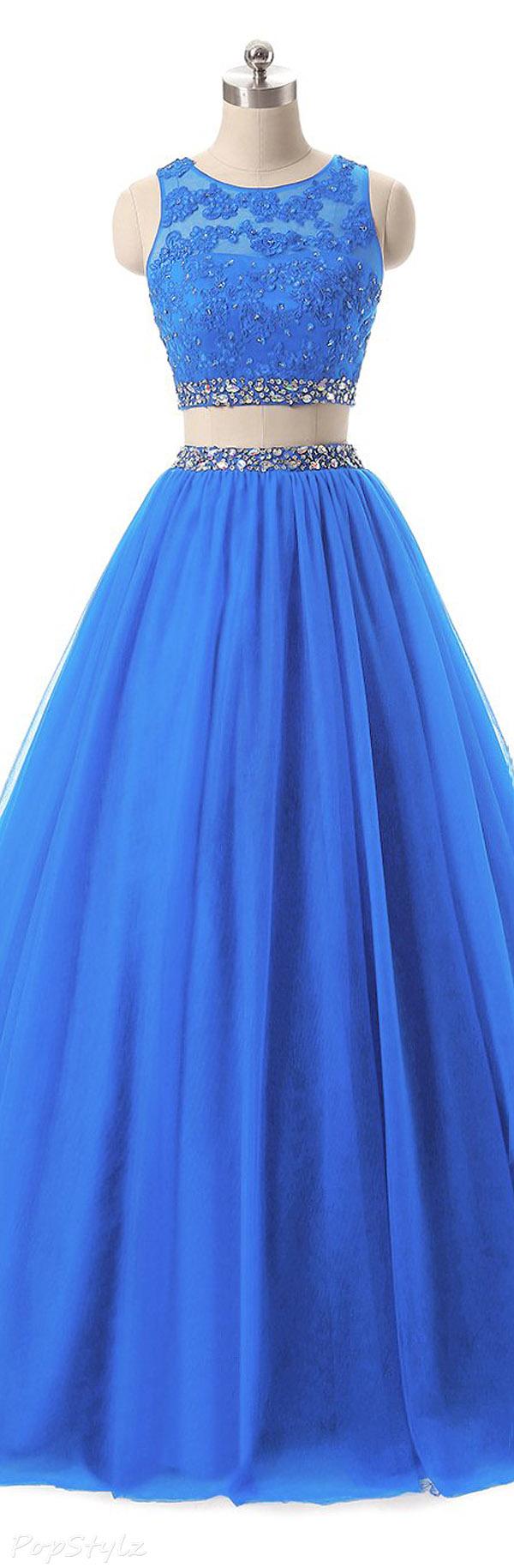 Himoda 2 Piece Beads & Lace Applique Evening Dress