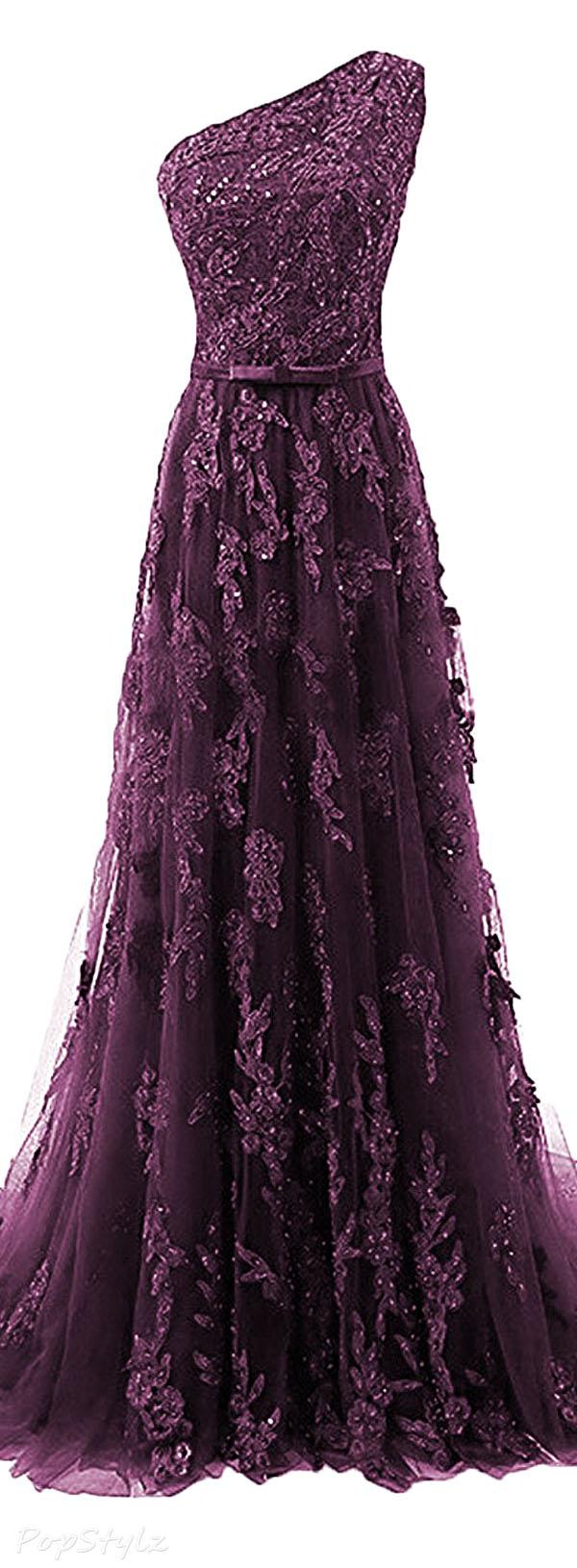Himoda Beads & Lace Appliqued Evening Gown