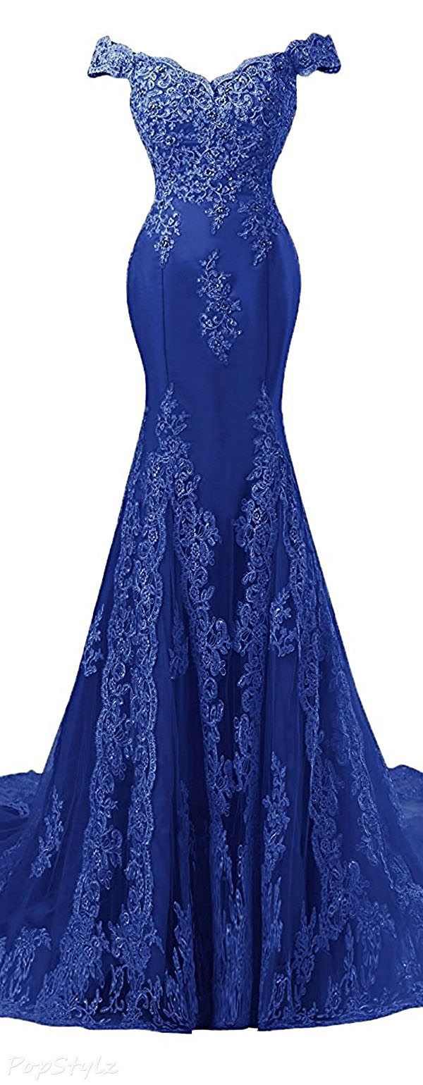 Himoda Beads & Lace Mermaid Evening Gown