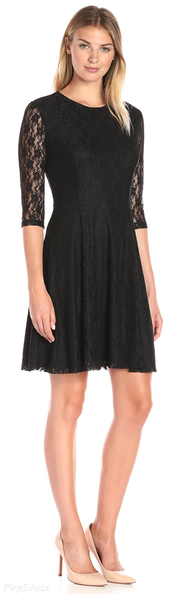 Lark & Ro Lace 3/4-Sleeve Knit Fit & Flare Dress