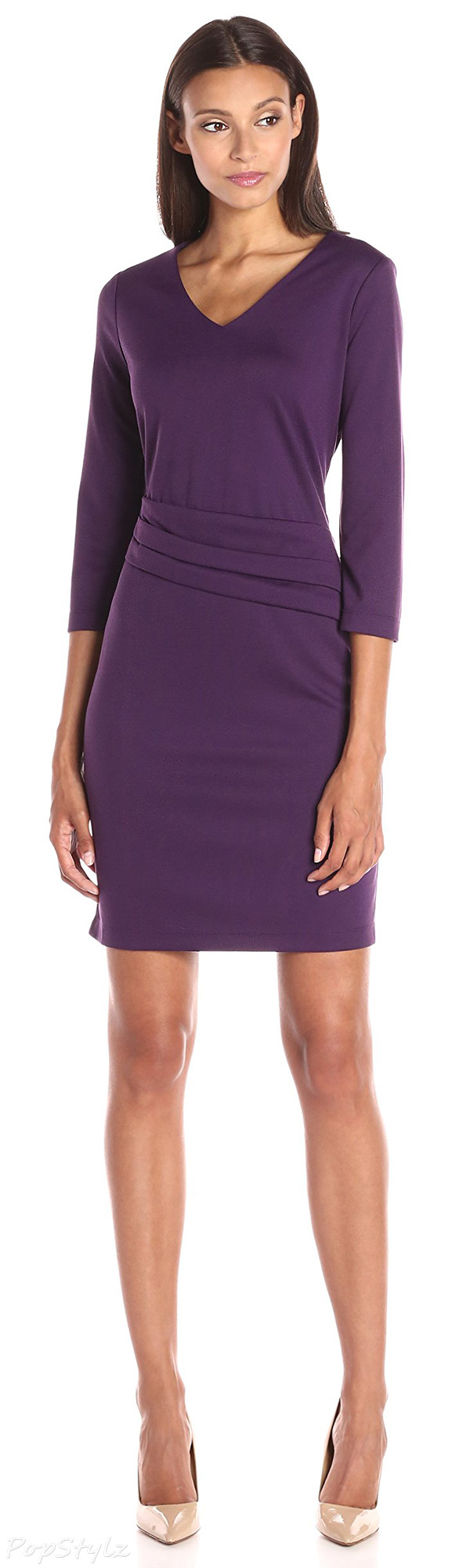 Lark & Ro 3/4 Sleeve Ponte Sheath Dress