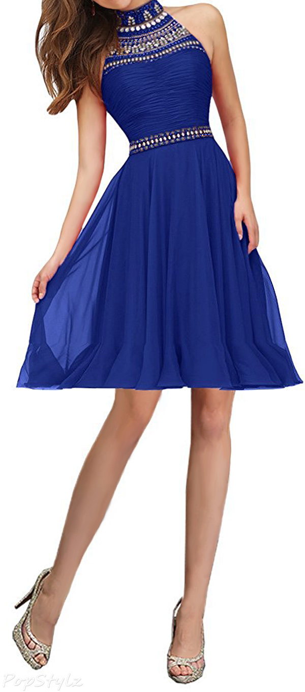Sunvary Rhinestone High Collar Short Evening Dress