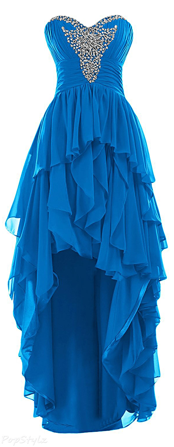 Sunvary Strapless Hi-Low Ruffled Formal Gown