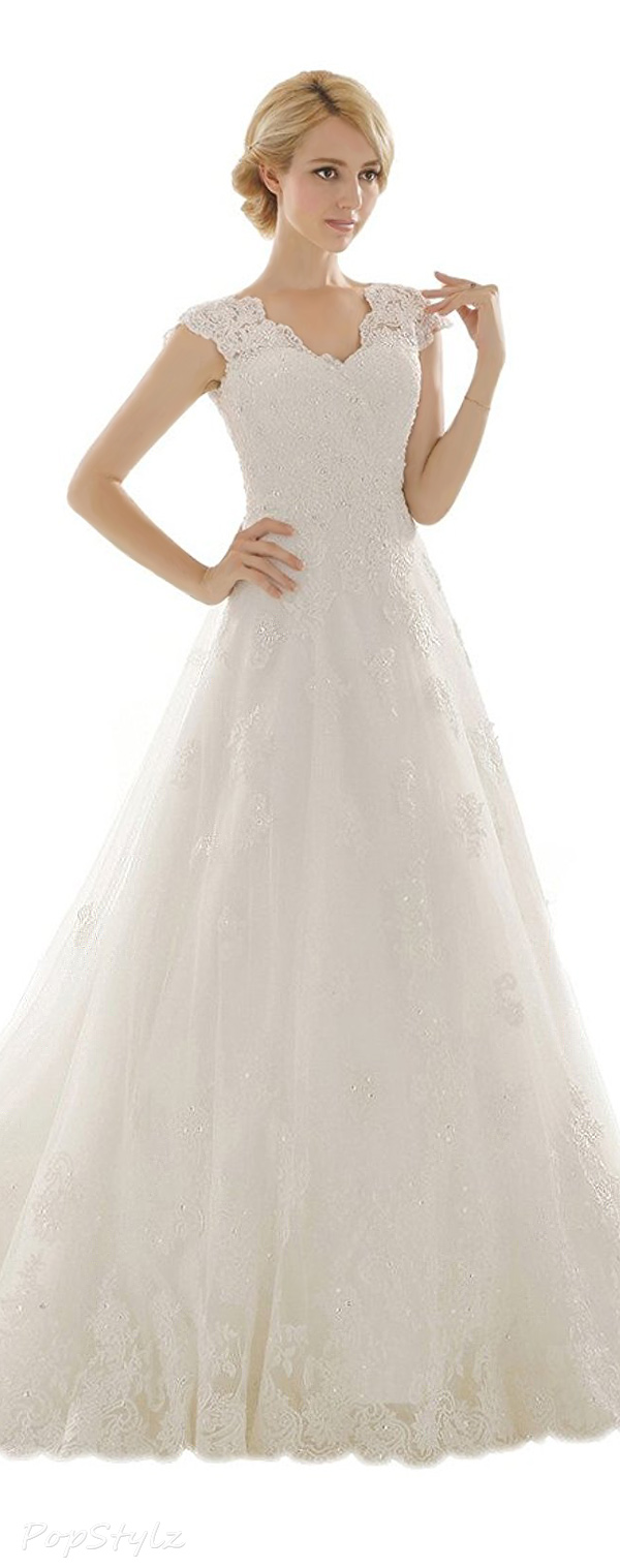 Snowskite A-line V Neck Vintage Lace Wedding Gown