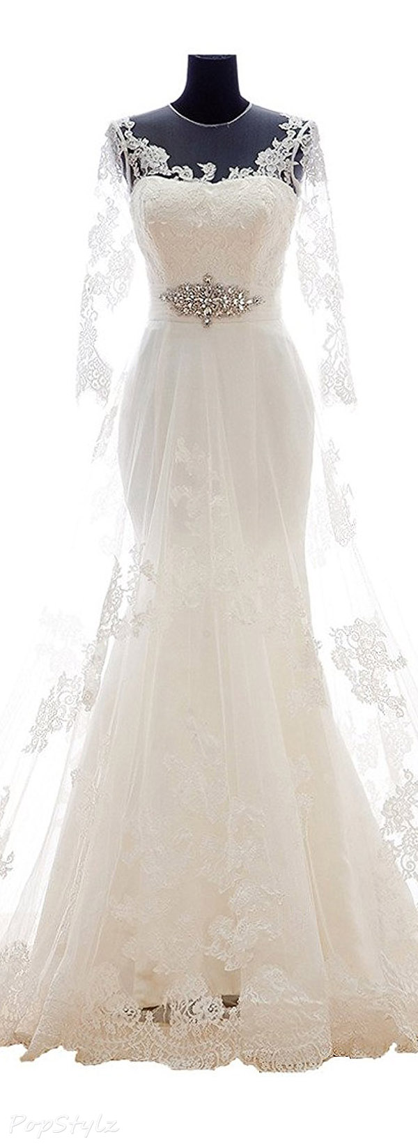 Snowskite A-line V Neck Vintage Lace Wedding Gown