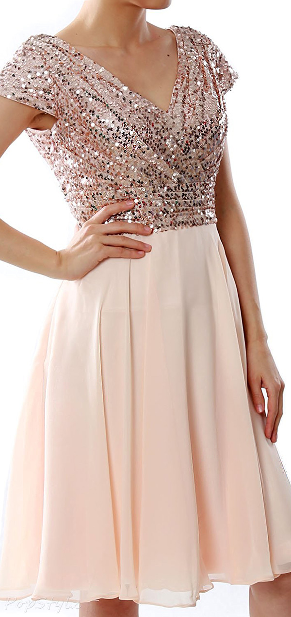 MACloth Short Sequin Cap Sleeve Formal Dress