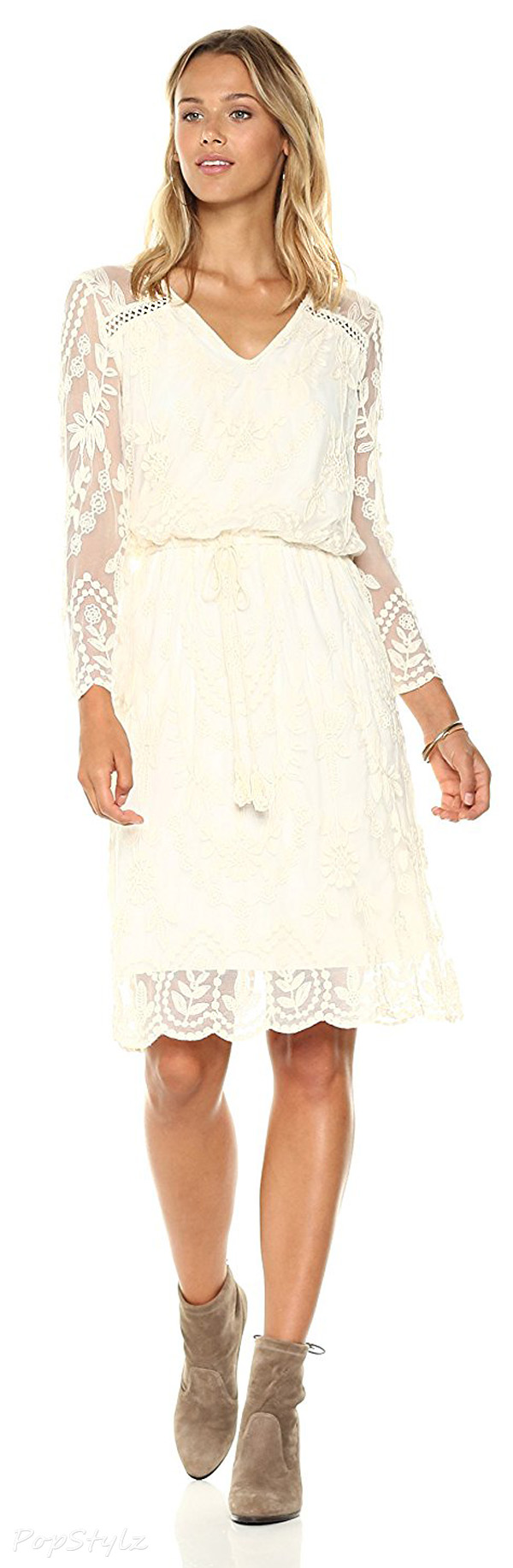 Ella Moon Silvia Embroidered Blouson Sleeve Dress